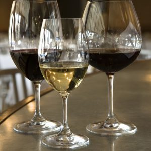 Zinfandel, from left, Chardonnay and Pinot Noir are served in Riedel glasses at Bin 36 restaurant. (Bill Hogan/Chicago Tribune/MCT)